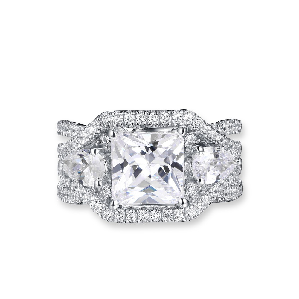 Vintage Princess Cut White Sapphire 925 Sterling Silver Engagement Ring
