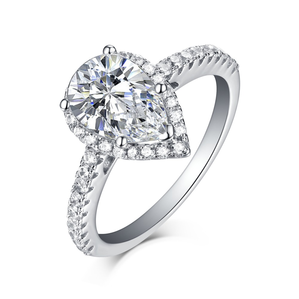 1eecc3dab595c Tinnivi Sterling Silver Pear Cut Created White Sapphire Classic Halo  Engagement Ring