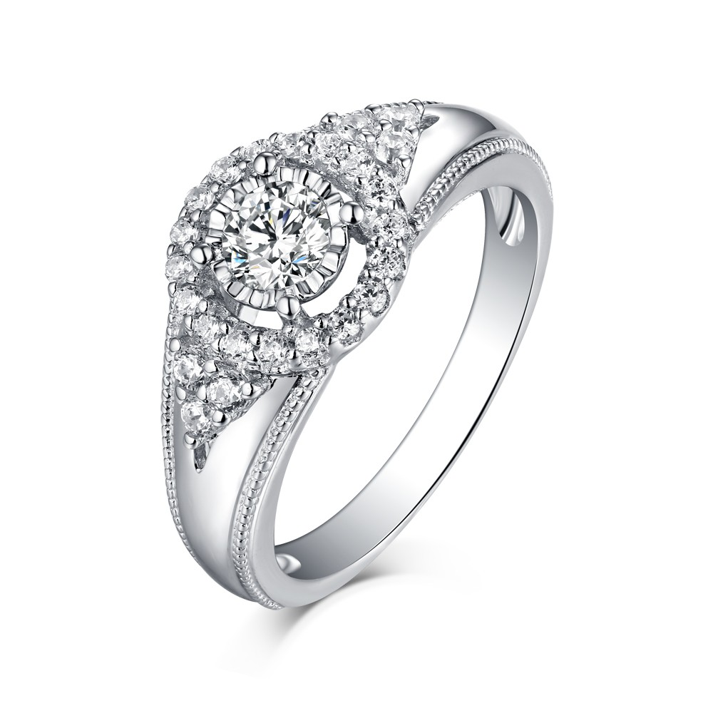 Tinnivi Sterling Silver Vintage Style Created White Sapphire Engagement Ring