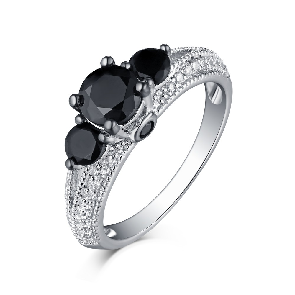 Tinnivi Sterling Silver Black Diamond 3 Stone Engagement Ring