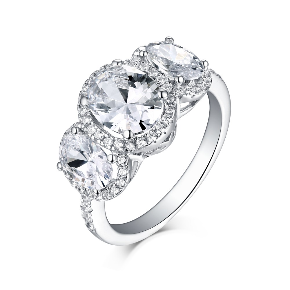 aa5765ad8600f4 Tinnivi Sterling Silver Oval Cut Created White Sapphire 3 Stone Halo  Engagement Ring - Tinnivi Jewelry