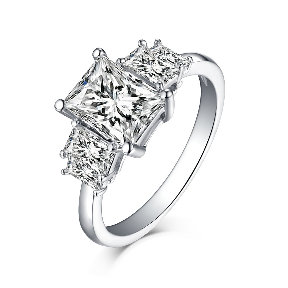 Tinnivi Sterling Silver Four Stone Emerald Cut Created White Sapphire Engagement Ring