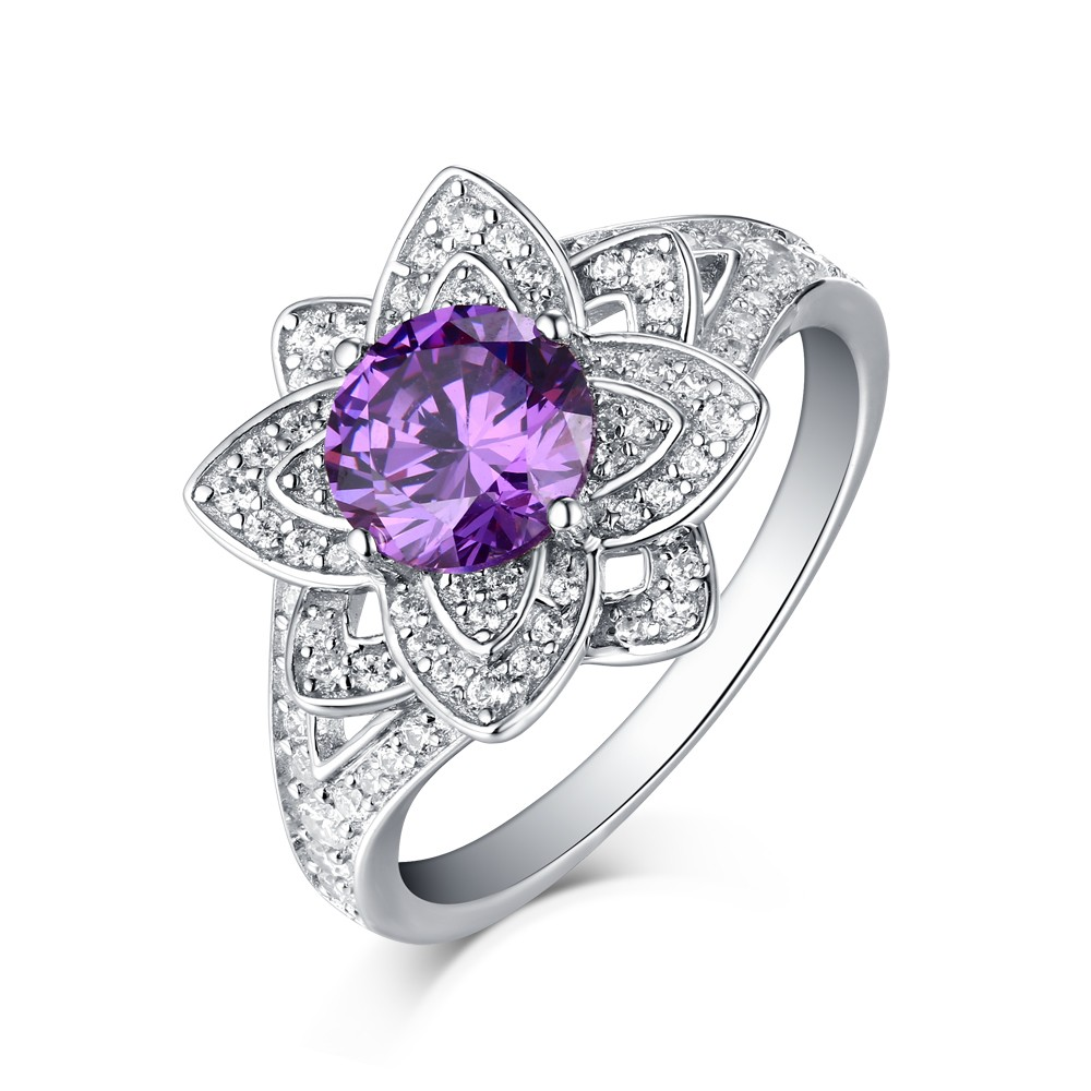 lotus ring sterling flower image engagement jewellery silver ladies rings cubic womens zirconia