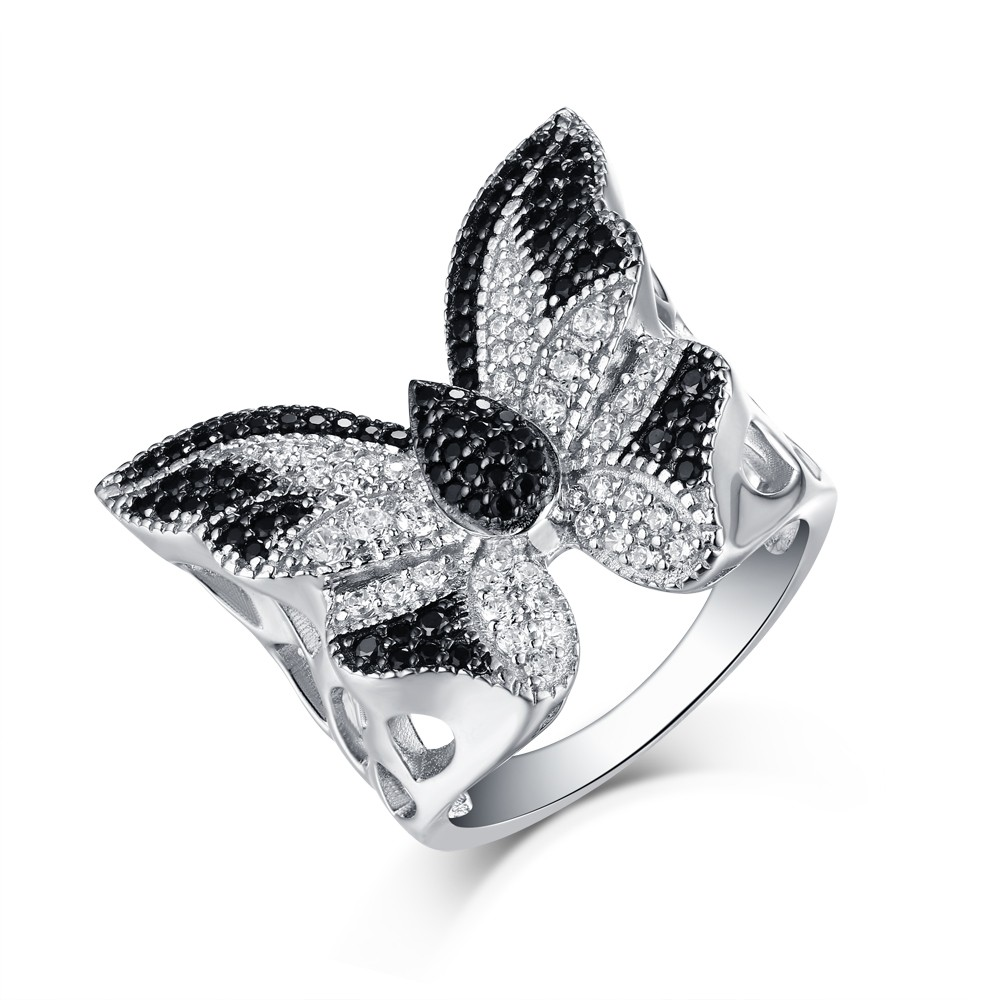 Tinnivi Round Created White And Black Sapphire Rhodium Over Sterling Silver Butterfly Ring