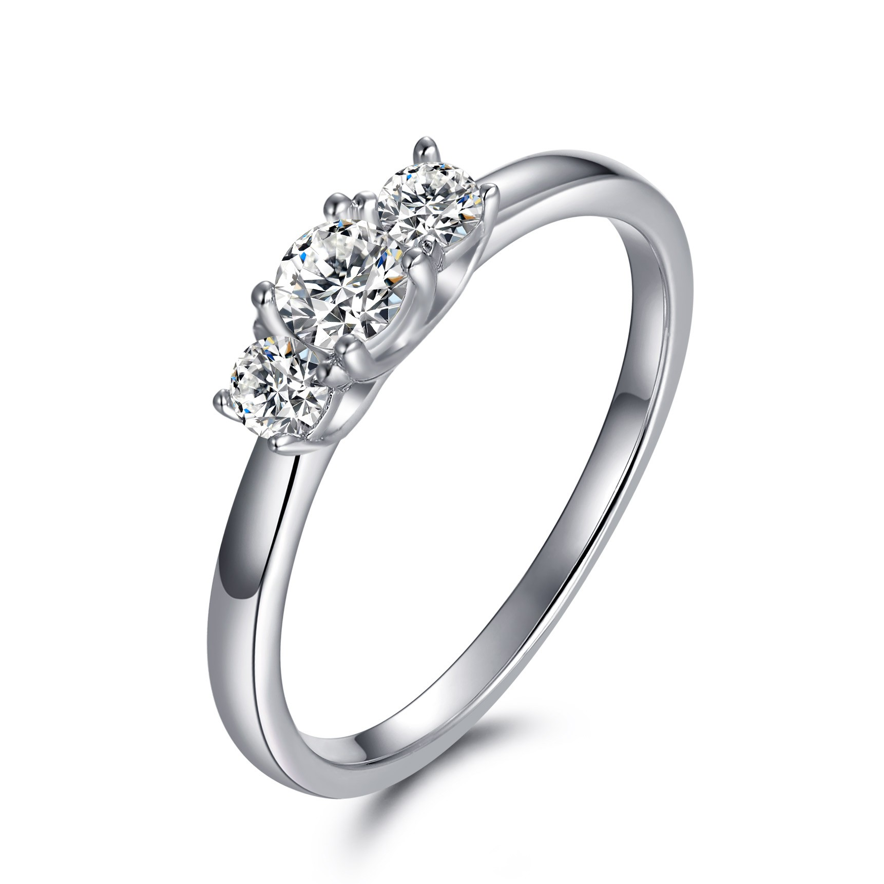 1/5CT Round Cut Gemstone Sterling Silver Engagement Ring