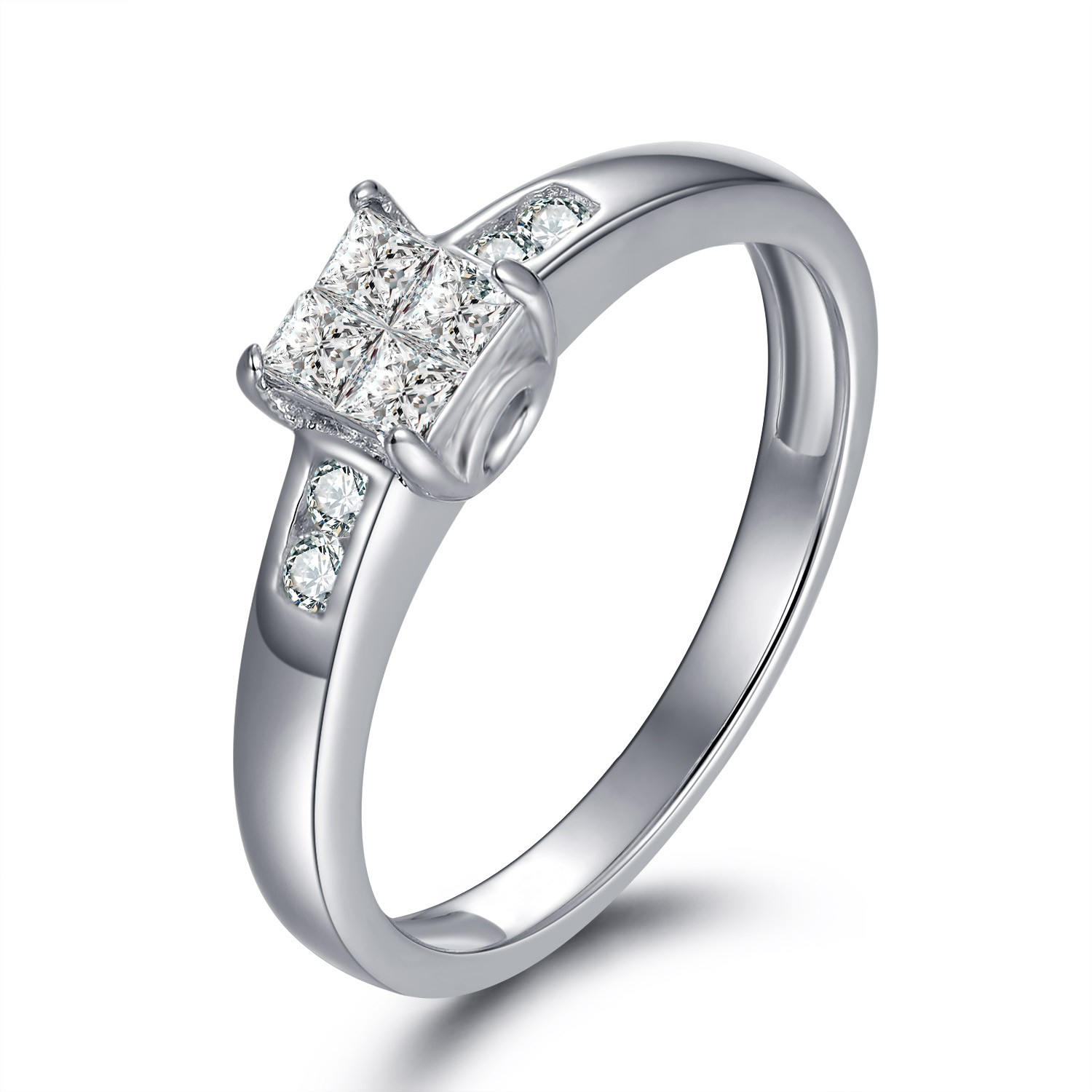 1/8CT Princess Cut Gemstone Sterling Silver Engagement Ring