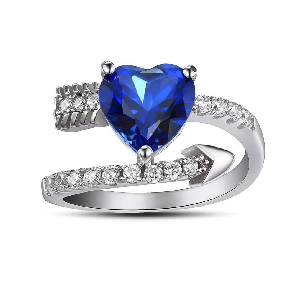 Chic Cupid's Arrow Heart Cut Created Tanzanite Sterling Silver Women's Ring