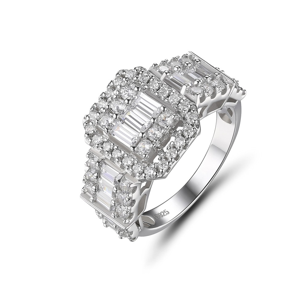 Round Cut White Sapphire 925 Sterling Silver Women's Ring