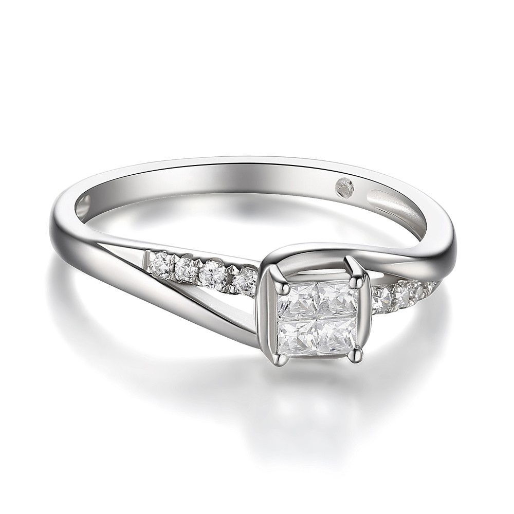 Womens Princess Cut 925 Sterling Silver White Sapphire Engagement Ring