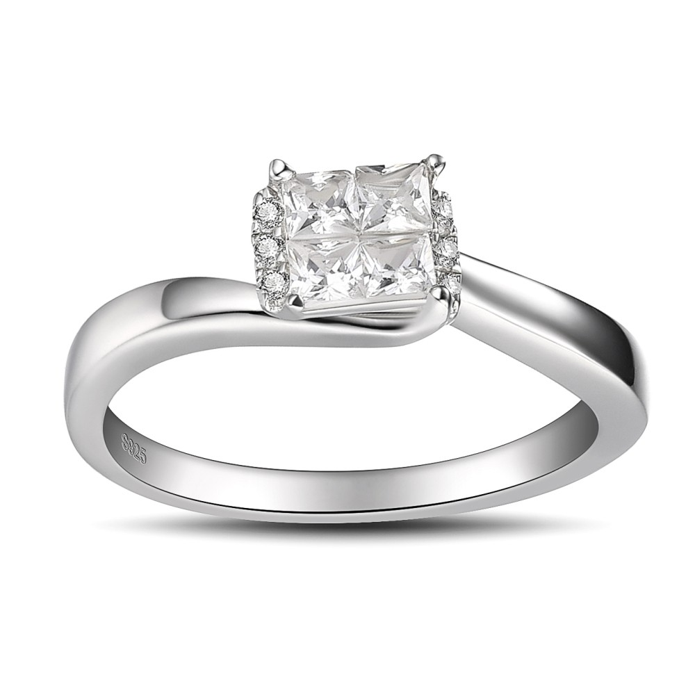 Vintage Princess Cut 925 Sterling Silver White Sapphire Women's Engagement Ring