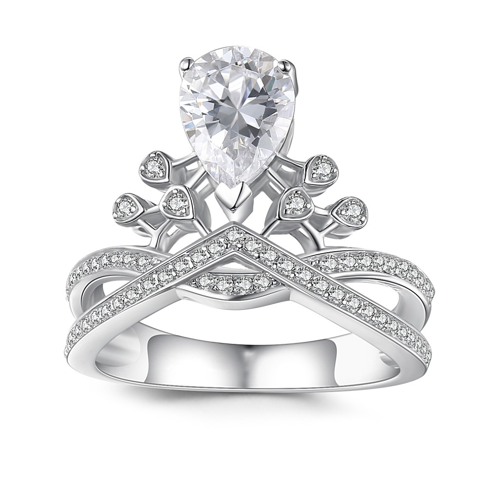 Pear Cut Gemstone 925 Sterling Silver Engagement Ring