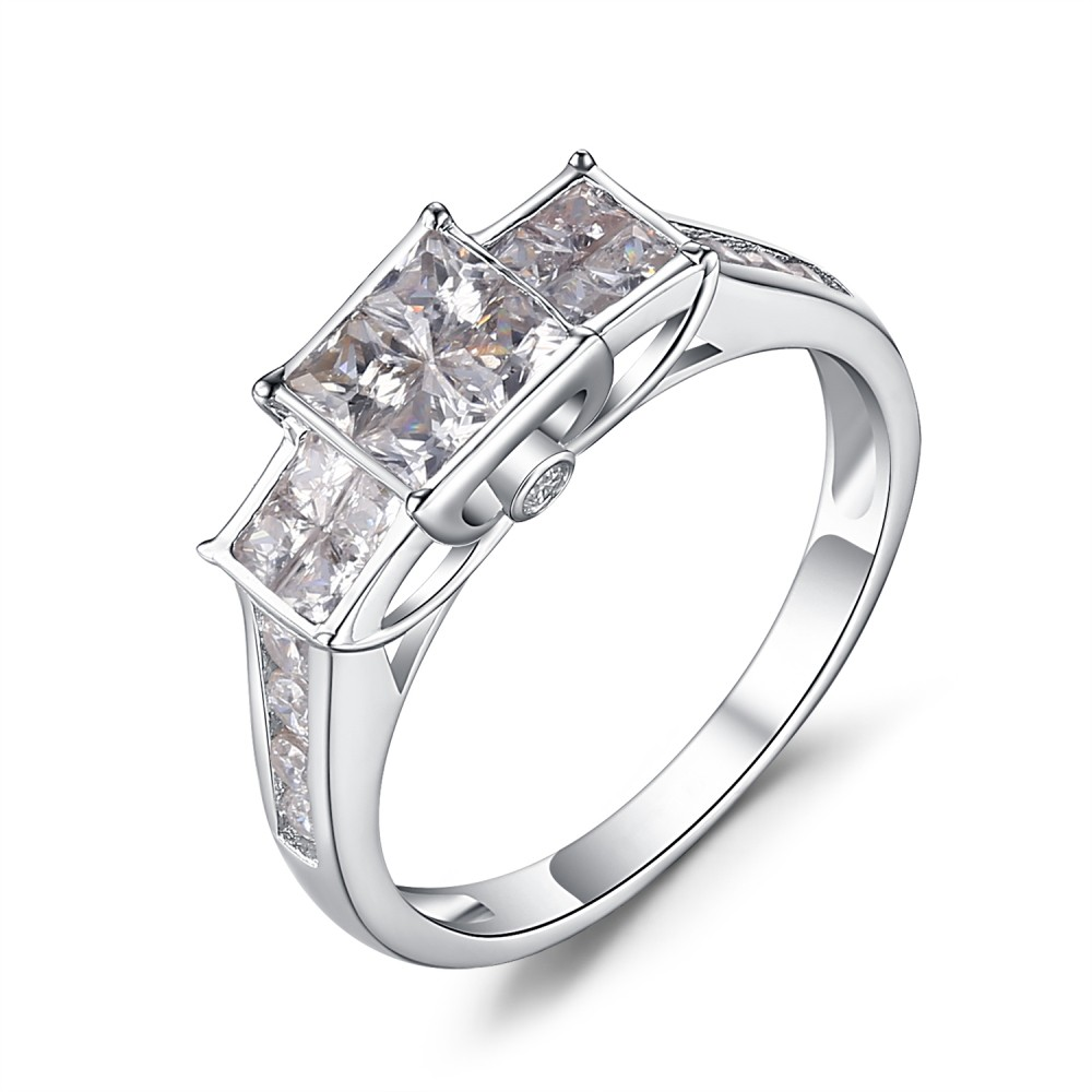 Princess Cut White Sapphire 925 Sterling Silver Women's Engagement Ring