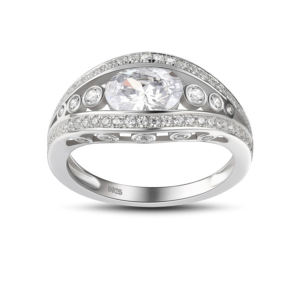 Tinnivi Sterling Silver Oval Cut Created White Sapphire Engagement Ring