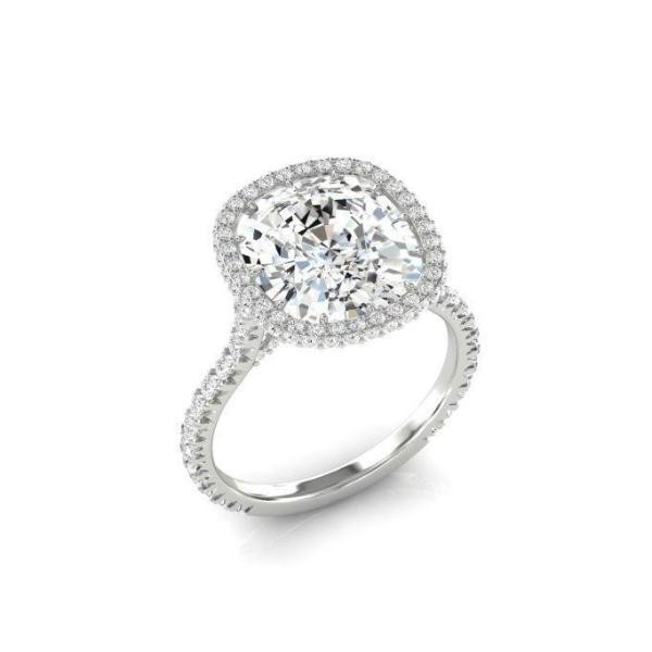 Cushion Cut Lab-Created Sapphire Sterling Silver Halo Engagement Ring
