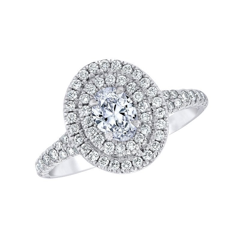 Oval Cut White Sapphire 925 Sterling Silver Double Halo Engagement Ring