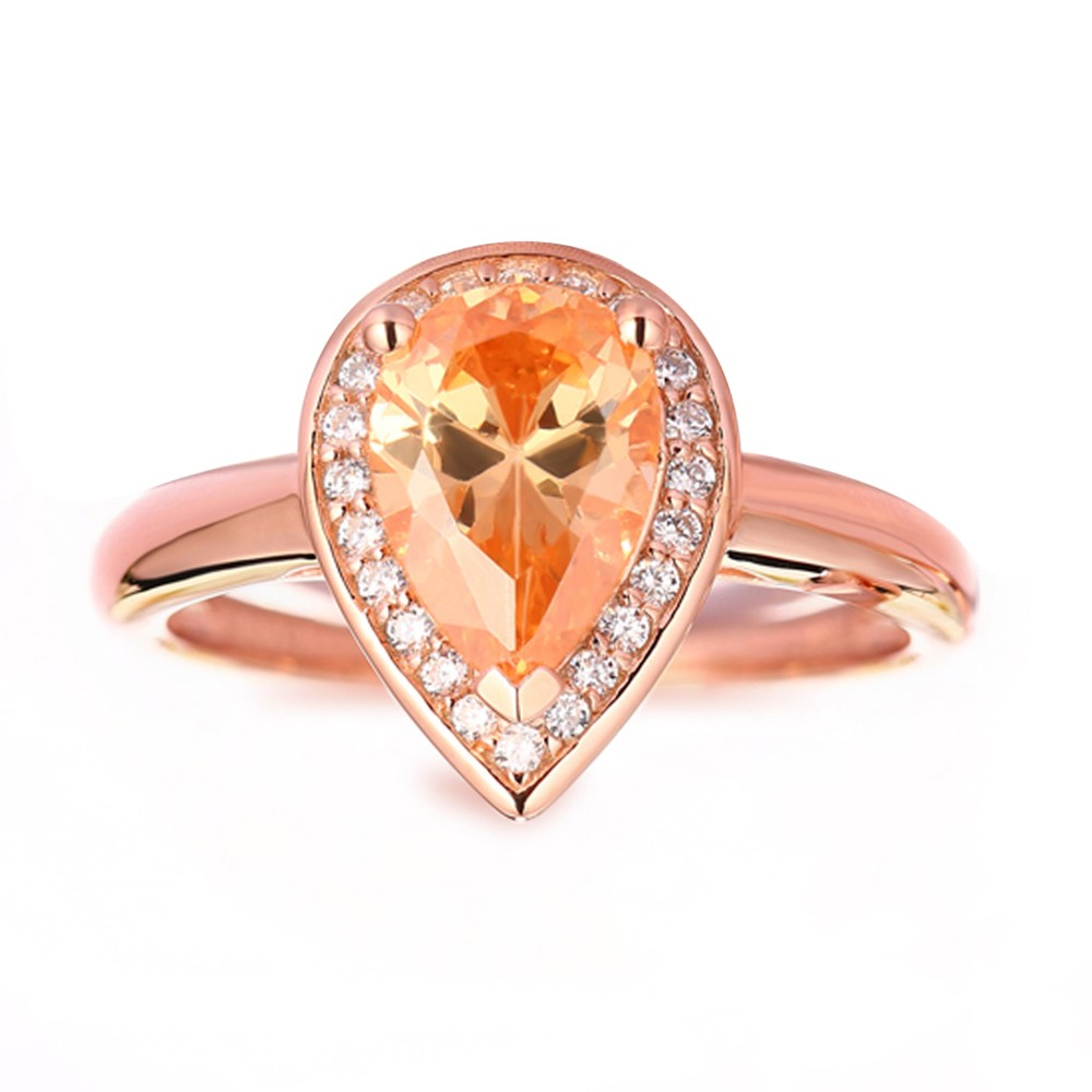 Pear Cut 925 Sterling Silver Created Orange Sapphire Rose Gold Engagement Ring