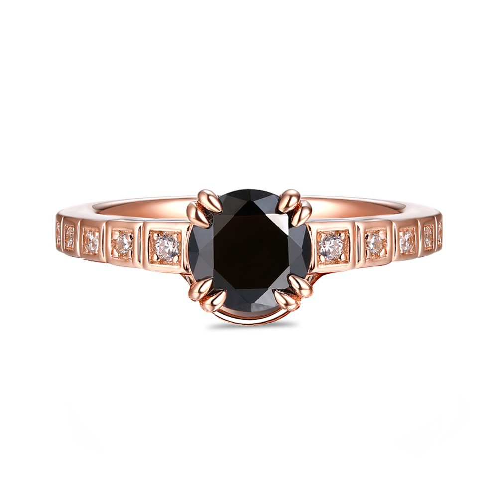 Unique Round Cut Sterling Silver Created Black Diamond Rose Gold Engagement Ring
