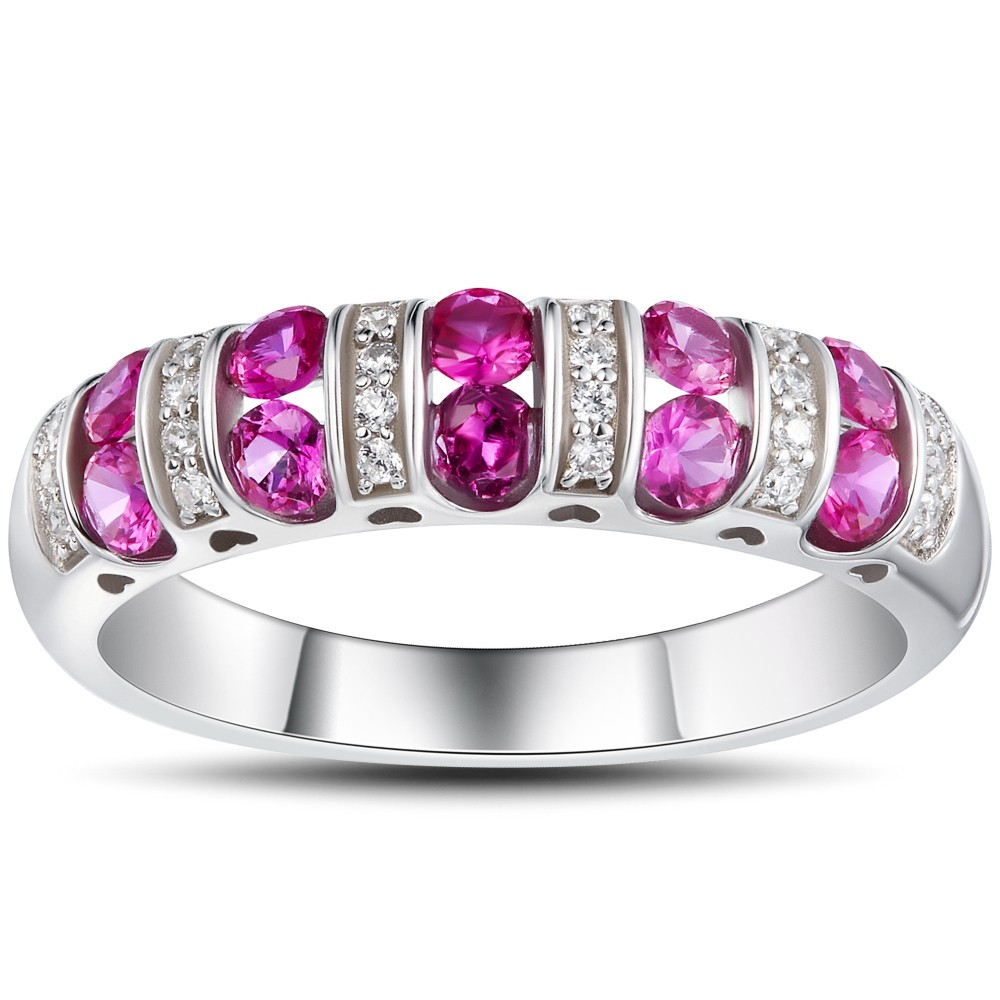 Round Cut Ruby 925 Sterling Silver Women's Wedding Band