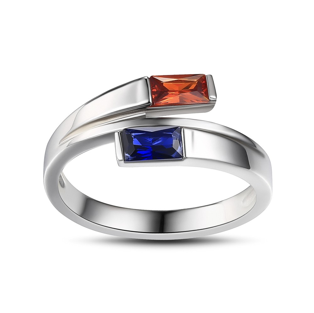 Tinnivi Sterling Silver Double Baguette Bypass Ring