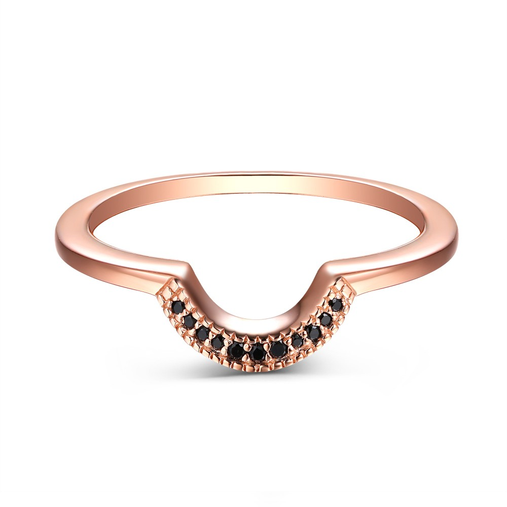 Round Cut 925 Sterling Silver Created Black Diamond Rose Gold Wedding Band