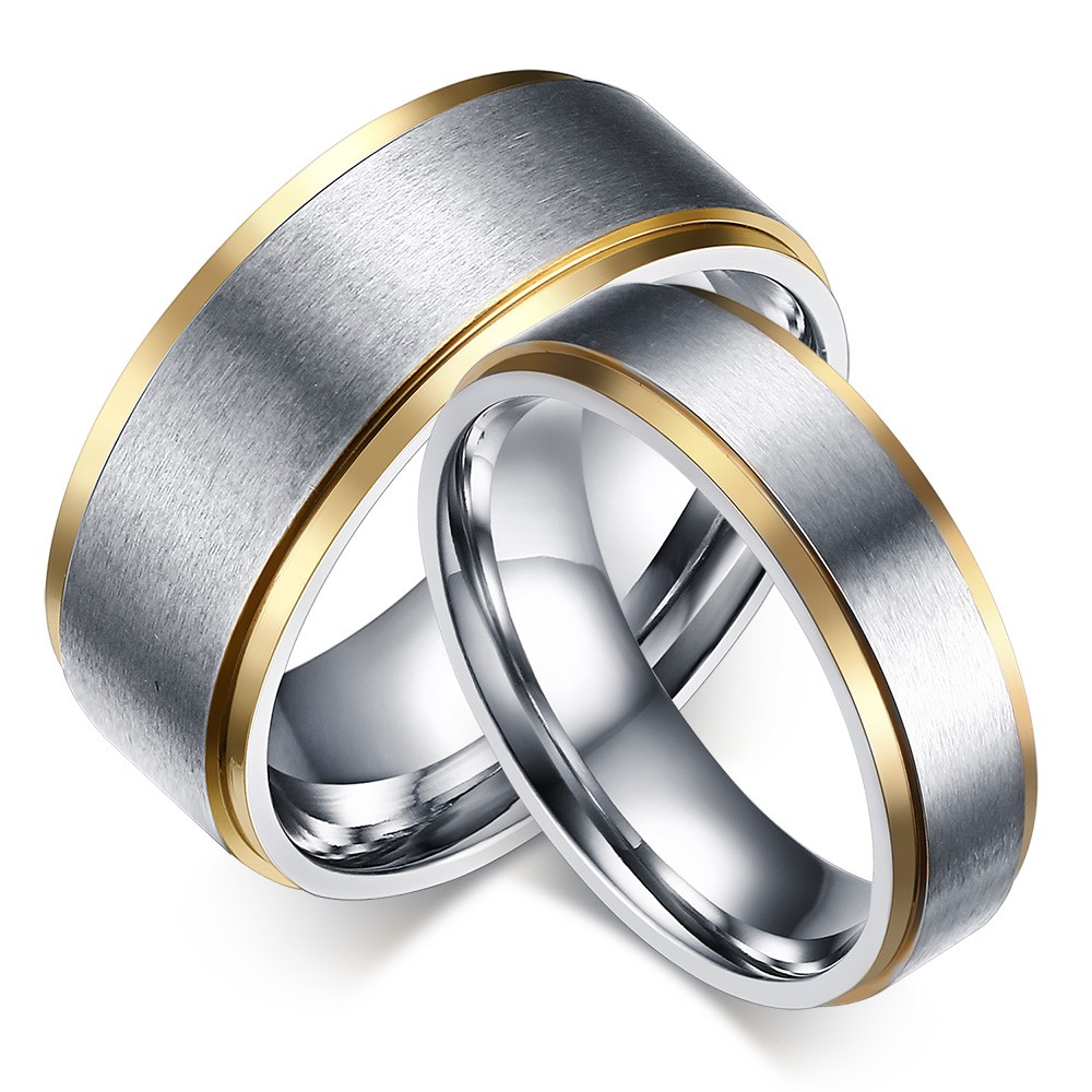 Stylish Titanium Steel Promise Ring for Couples