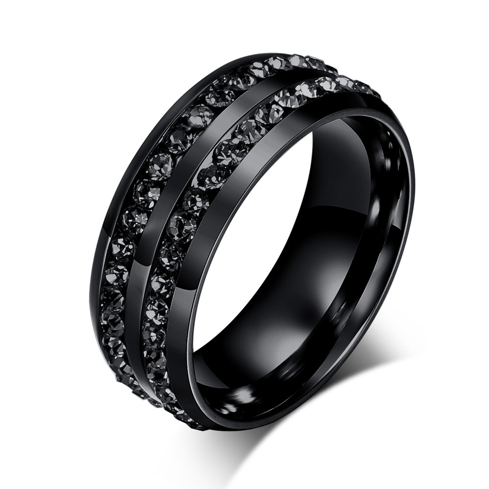 Tinnivi Round Cut Black Gemstone Titanium Steel Men's Ring