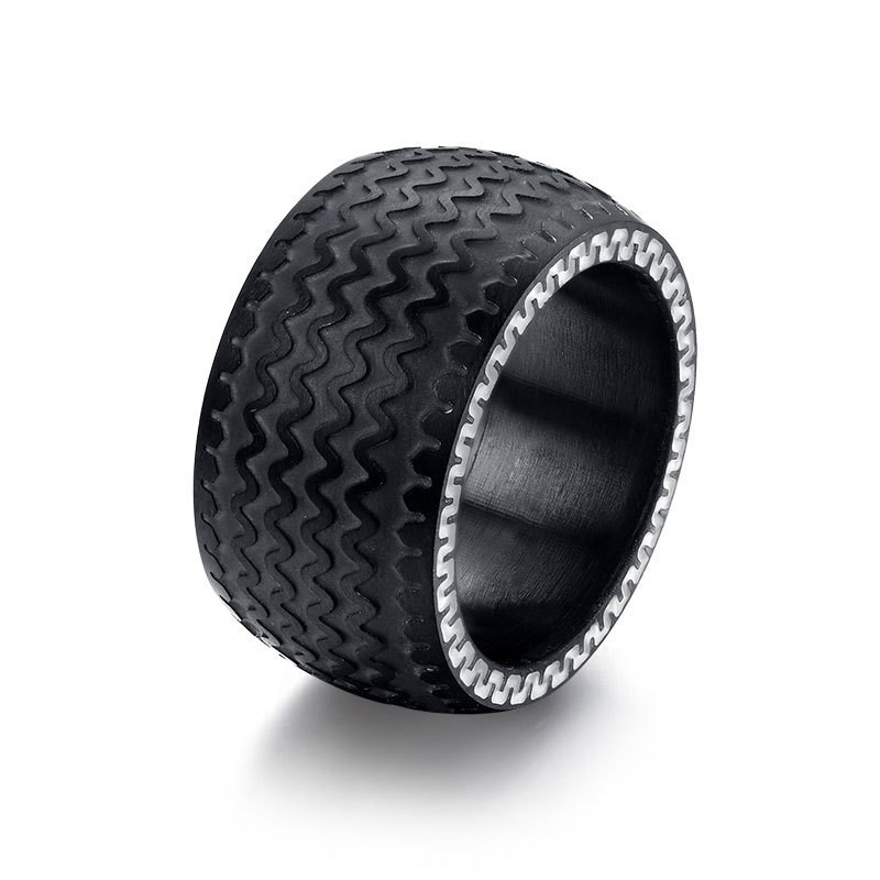Tire Pattern Black Titanium Steel Men's Ring
