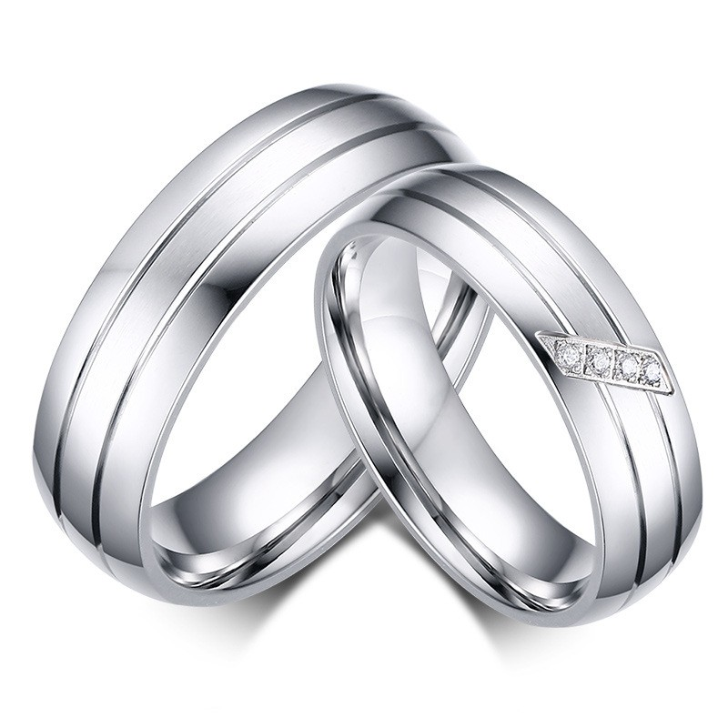 Round Cut White Sapphire Silver Titanium Steel Promise Rings for Couples