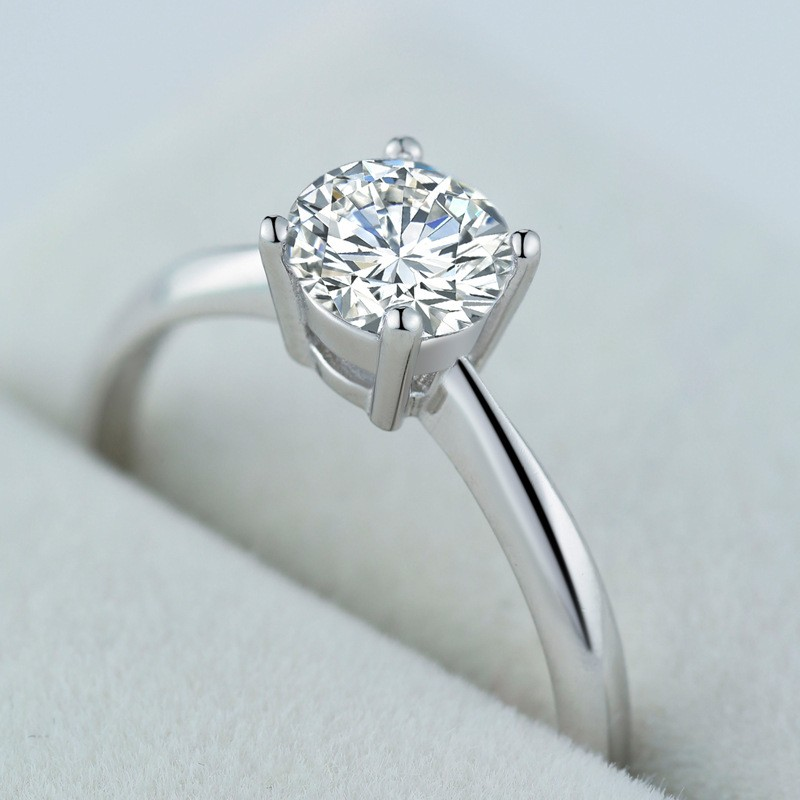 fd9e697ff4d51 Round Cut White Sapphire 925 Sterling Silver Simple Adjustable Engagement  Ring