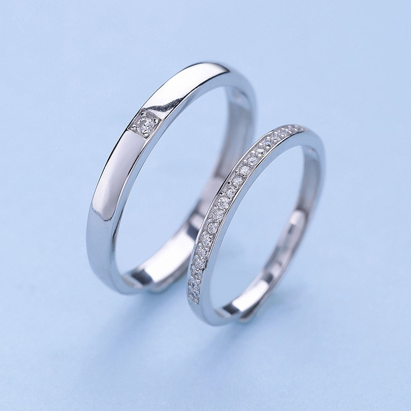 Round Cut White Sapphire 925 Sterling Silver Simple Adjustable Promise Ring For Couple Tinnivi Jewelry