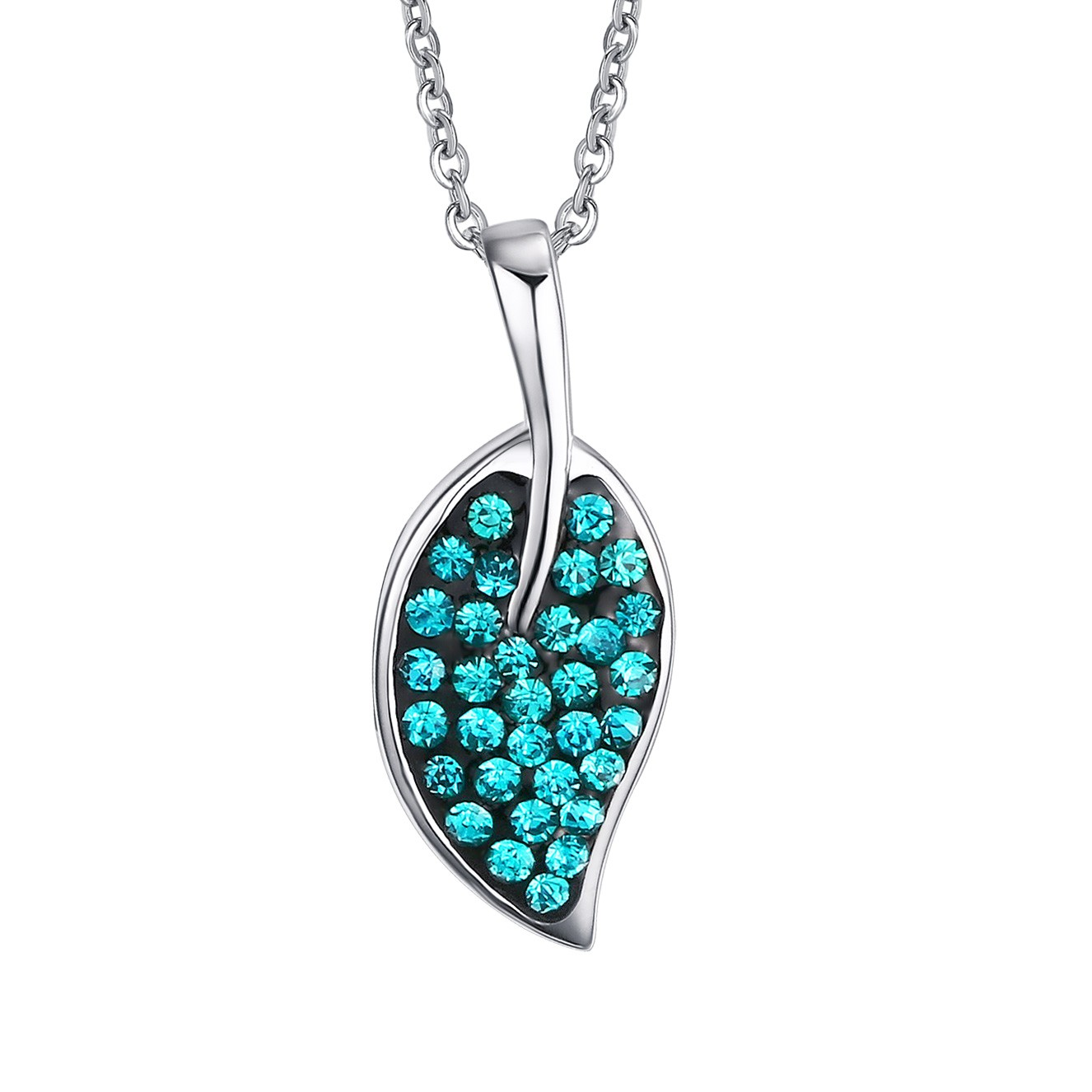 Leaf Design 925 Sterling Silver With Gemstone Necklace