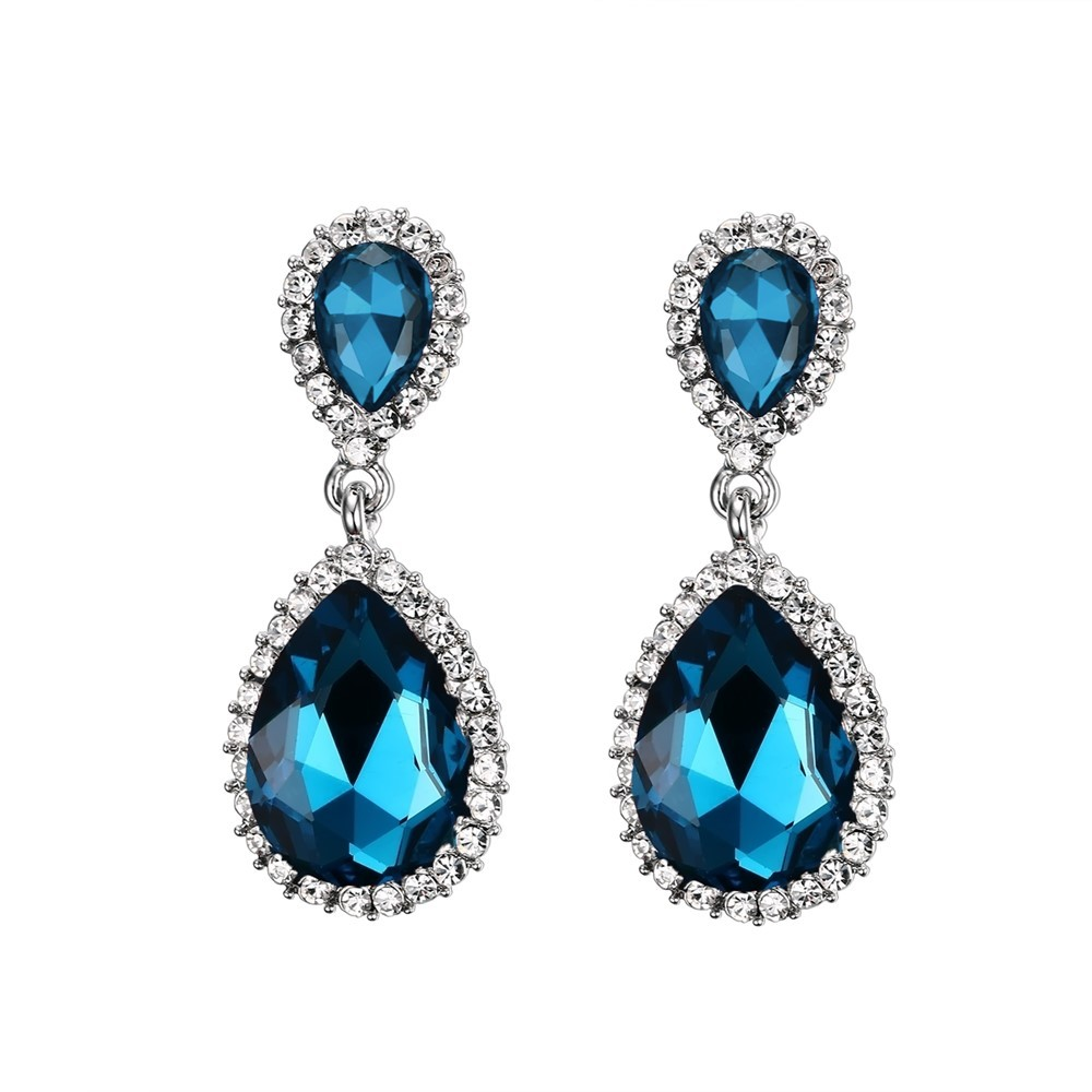 925 Sterling Silver Pear Cut Aquamarine Earrings