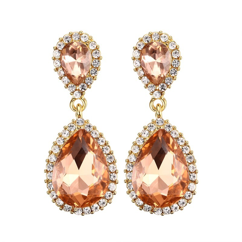 925 Sterling Silver Pear Cut Orange Sapphire Earrings