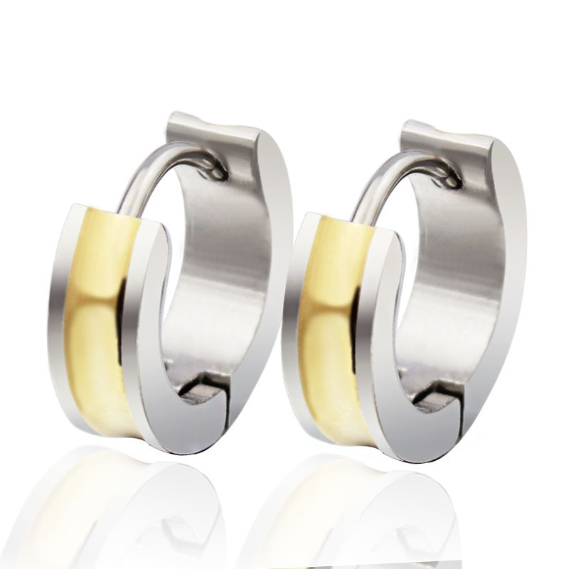 Nice Silver and Gold Titanium Steel Earrings