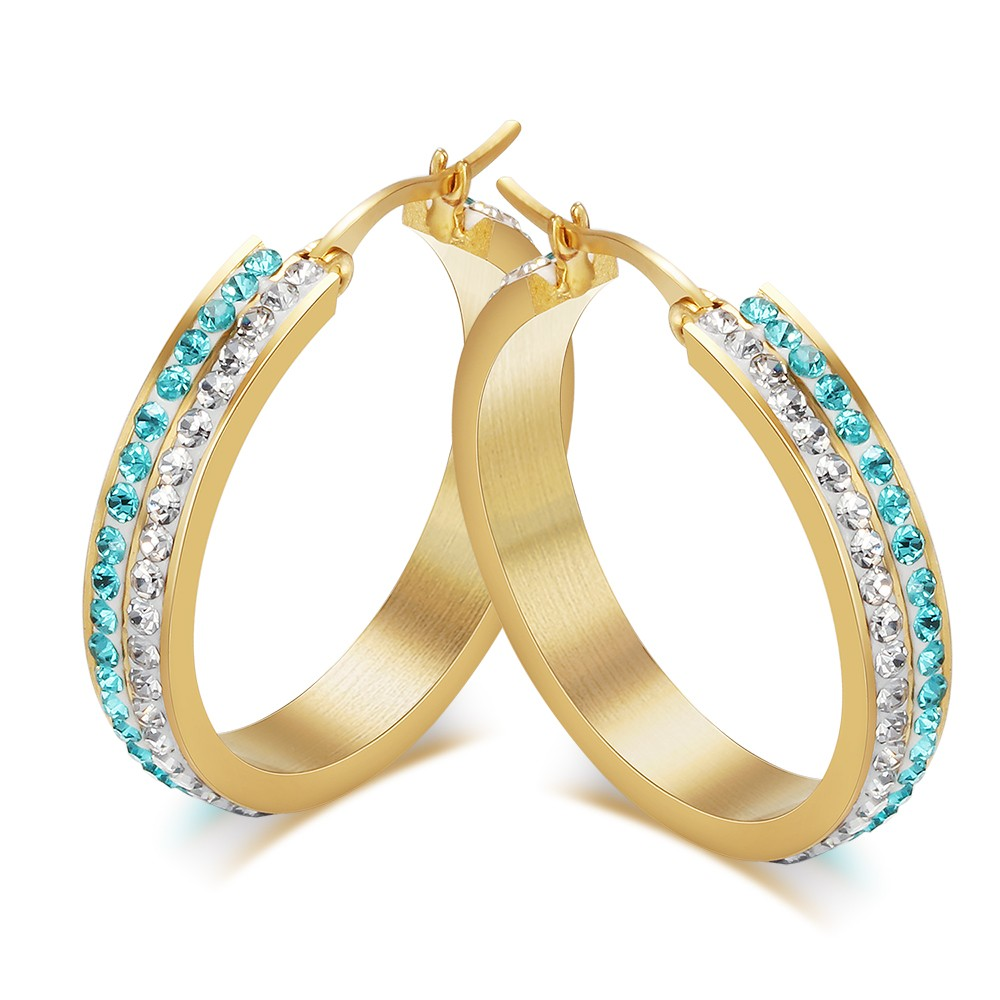 Round Cut Aquamarine and White Sapphire Gold 925 Sterling Silver Earrings