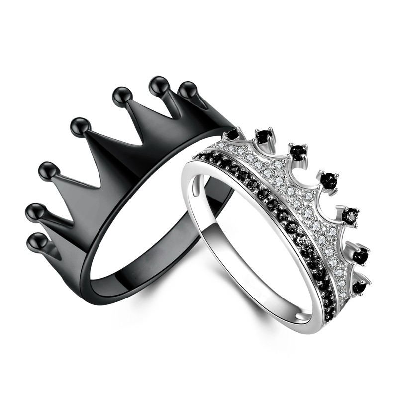 Tinnivi 925 Sterling Silver Princess Crown Rings For Couples