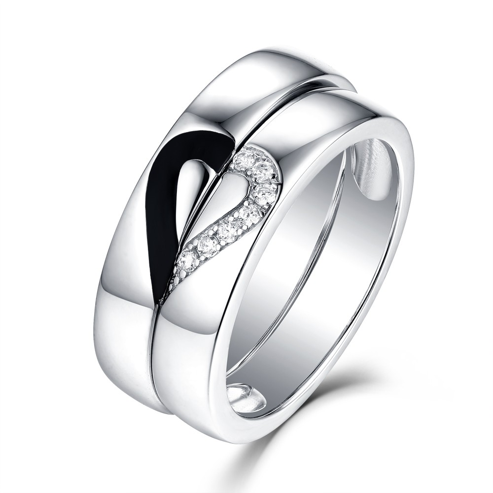 Unique Design 925 Sterling Silver Promise Ring For Couple