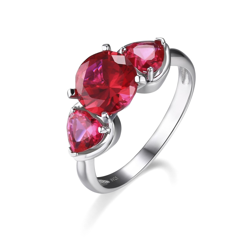 Heart Cut Ruby 925 Sterling Silver Promise Rings For Her