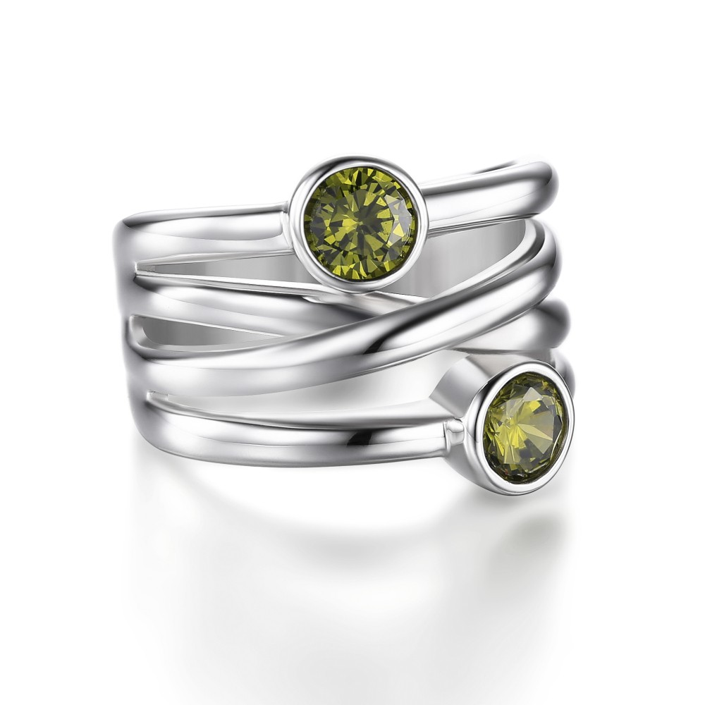 Tinnivi Two Stone Created Peridot Stackable Bezel Setting Cocktail Ring