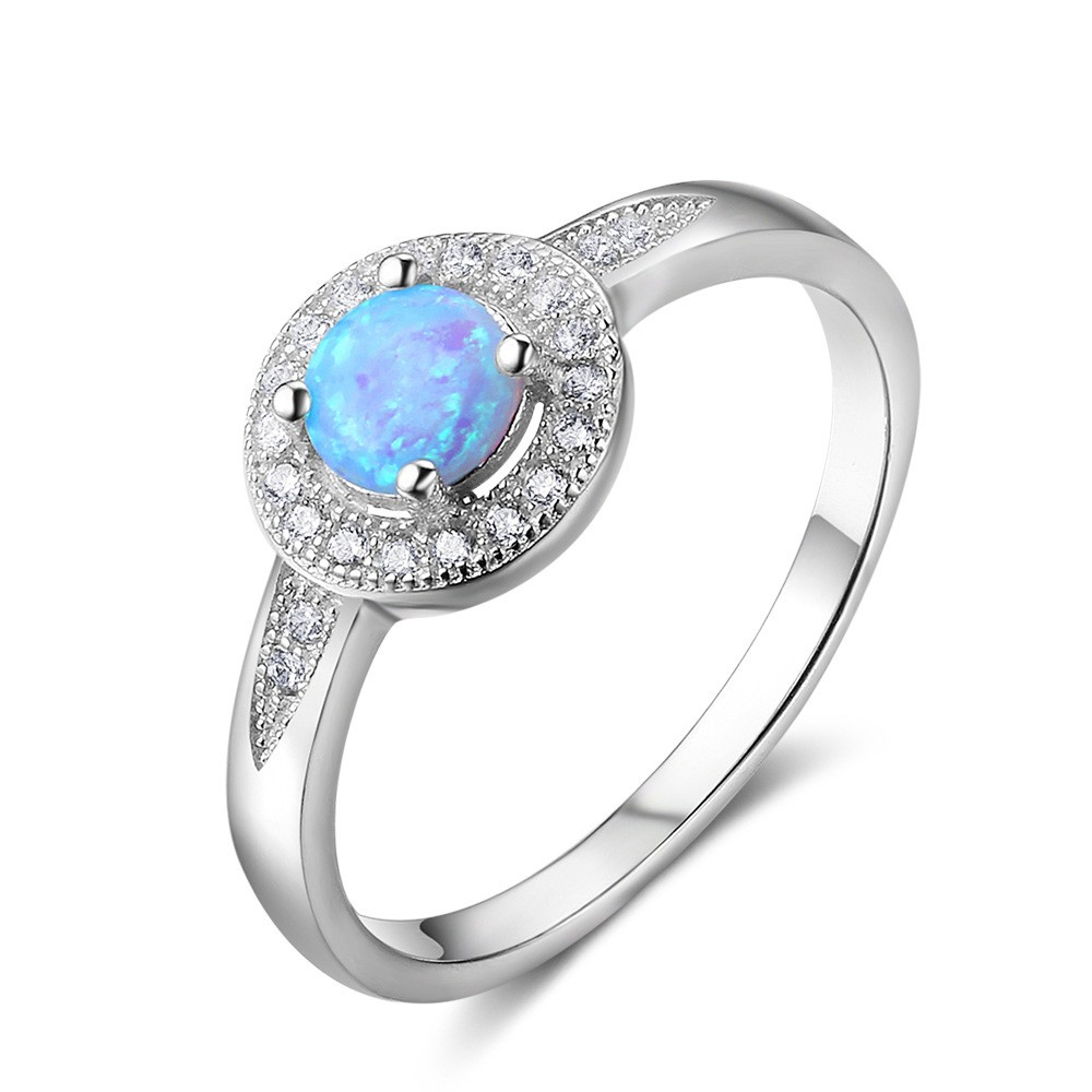 Tinnivi Fashion Sterling Silver Blue Opal With Created White Sapphire Womens Ring
