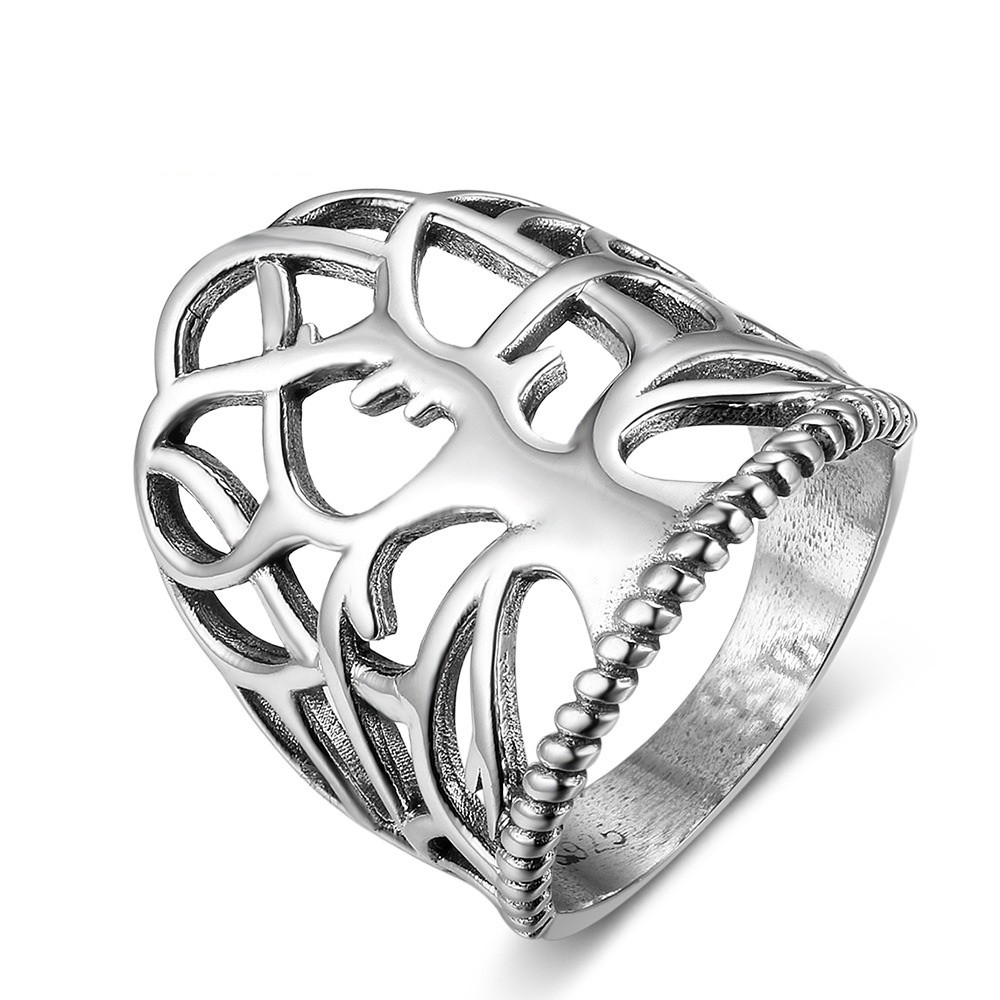 Tinnivi Wide Polished Lucky Tree Sterling Sliver Womens Ring