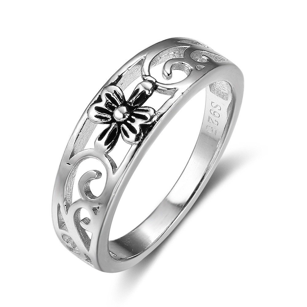 Tinnivi Sterling Sliver Hollow Out Flower Womens Ring