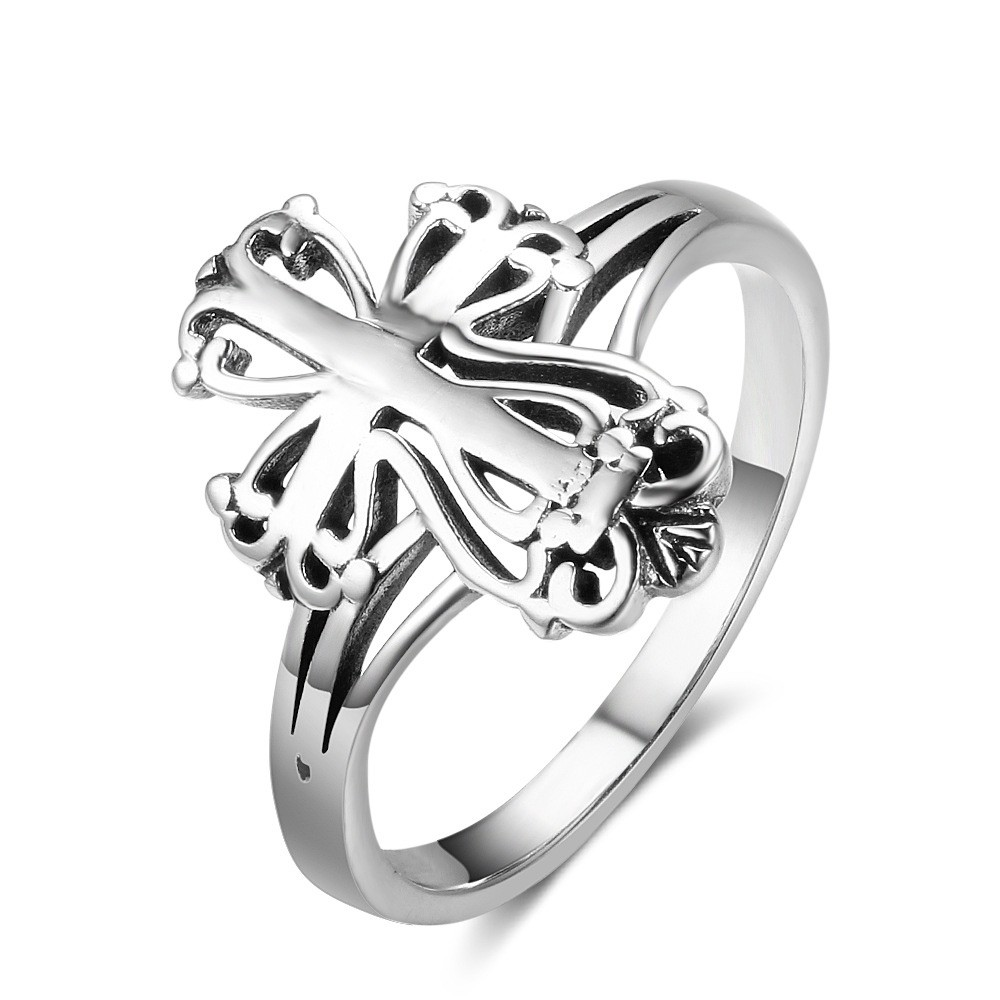 Tinnivi Hollow Out Cross Sterling Sliver Womens Ring