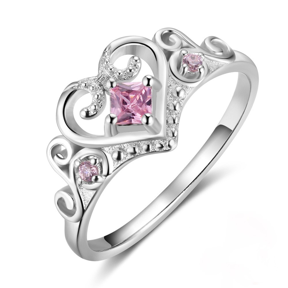 Tinnivi Sterling Silver Crown Shape Created Pink Sapphire Womens Ring