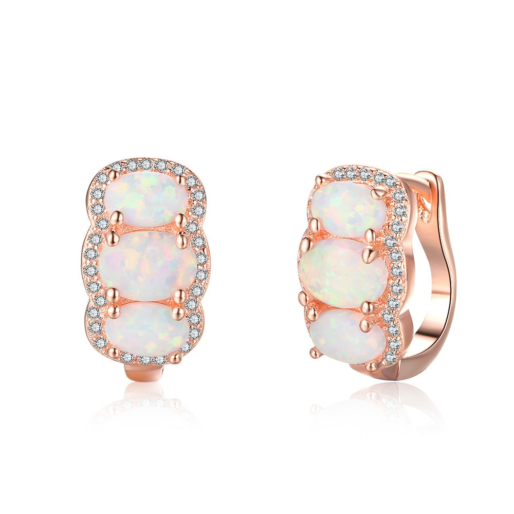 Tinnivi Rose Gold Plated Sterling Silver Three Stone Oval Cut Opal Hoop Earrings Jewelry