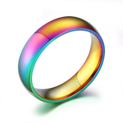 Tinnivi Rainbow Classic Titanium Steel True Love Wedding Band