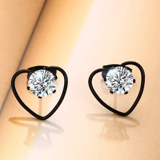 Tinnivi Black Titanium Steel Heart Hollow Out With Created White Sapphire Stud Earrings