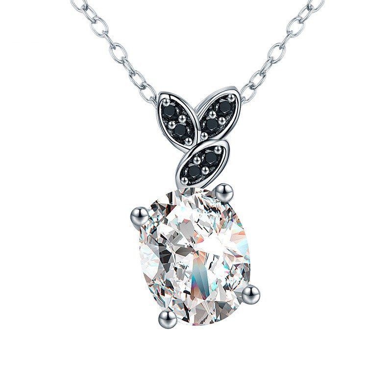 Tinnivi Leaf Oval Cut Created White Sapphire Sterling Silver Pendant Necklace