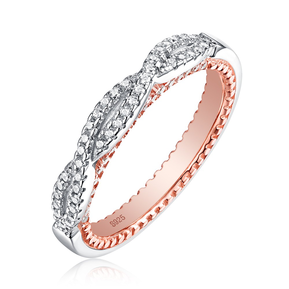 Tinnivi Delicate Rose Gold Plated Twist Sterling Silver Wedding Band