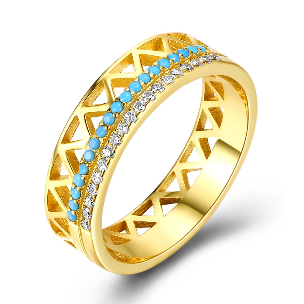 Tinnivi Gold Plated Sterling Silver Turquoise With Created White Sapphire Wedding Band